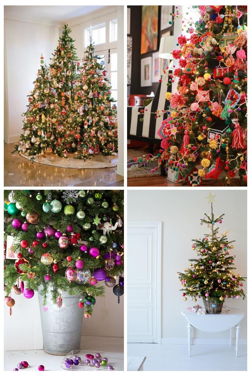 árboles de navidad multicolor